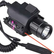 Pop Tactical Combo Flashlight/Light Torch Red Laser Sight Fit For Pistol Hunting