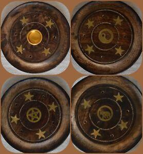 Wooden Incense Stick holder round plate insense ash catcher joss cone insence