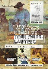 Grenada 2014 MNH Henri de Toulouse-Lautrec 150th Anniv Birth 4v SMS II Hangover