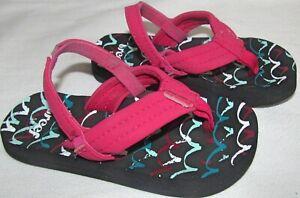 Reef Pink Black Rubber Flip Flop Back Strap Sandals Shoes Toddler Girls Size 5 6