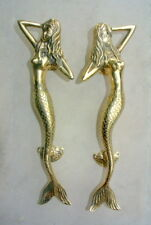 "2 used skinny 34cm MERMAID door handle 13"" solid brass door PULL polished"