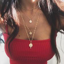 Multilayer Gold Chain Choker Necklace Women Cross Wafer Pendant Jewelry Fashion