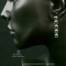 Earrings with 5 Swarovski Crystals Colour: Emerald, Green