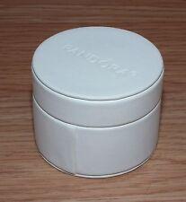 EMPTY Genuine Pandora White Faux Leather Round Charm Gift Box  Etc *READ*