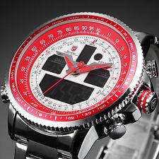 SHARK Men's LCD Digital Date Red Dial Silver Stainless Steel Sport Quartz Watch