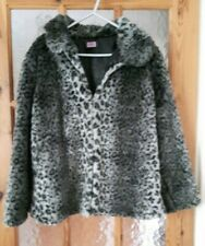 "F&F Grey Leopard Print Faux Fur Jacket Size: 6/8 - 36"" Chest"