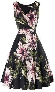 GRACE KARIN Women's A Line Vintage Stretchy Cocktail Party, Black Floral Small