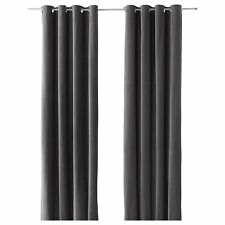 Ikea Sanela Gray Curtains Blackout Cotton Velvet 2 Panels 98 long Grommet New
