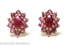 9ct Gold Ruby Cluster studs earrings Made in UK Gift Boxed