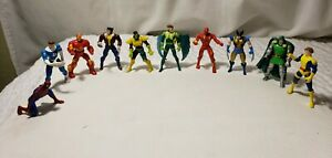 """Vintage  Lot Of 10 1995 Marvel ToyBiz 2.75"""" Diecast Metal Figures"""