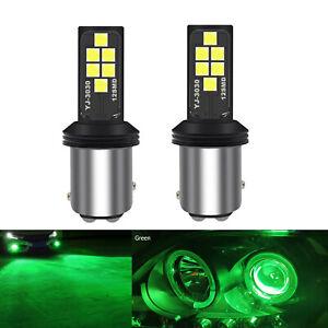 A1 AUTO 2x BAY15d 1157 LED Bulbs Green High Bright SMD 3030 Turn Signal Light