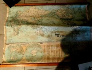 VINTAGE GREGORYs QANTAS REFERENCE WALL SCHOOL MAP OF THE WORLD