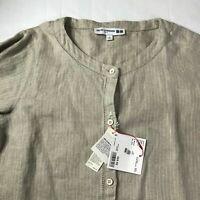 NWT Uniqlo Women IDLF Heavy Linen 3/4 Sleeve Dress Small Beige Brown