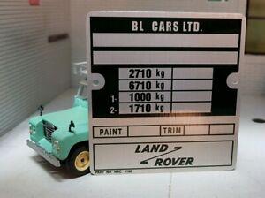 Land Rover Series 3 Late BL Leyland Bulkhead Chassis Plate 109 LWB NRC4190