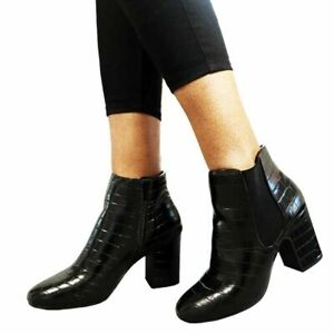 Womens Chelsea Boots Square Toe Ankle Length UK Sizes 4 - 9 Brand New with Tags