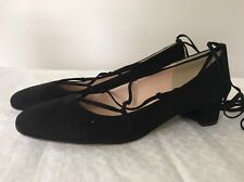 New J Crew $218 Lace-Up Heels in Suede Black F4867 Shoes Block Casual Classic 11