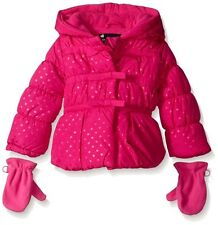 Baby Girls ROTHSCHILD Pink Bow Dot Puffer Jacket Coat with Mittens Size 12M NWT