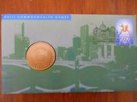 2006 $5 Melbourne Commonwealth Games XVII Coin & Stamp PNC/FDC Unc in Dust Cover