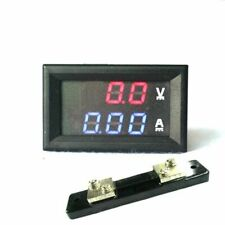 DC Volt Amp Dual display Meter Red Blue Digital Voltmeter Ammeter W Ampere Shunt