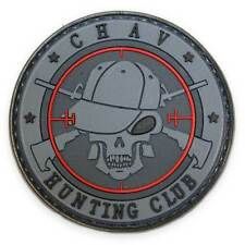 3D PVC Chav Hunting Club Military Tactical Army Airsoft Funny Morale Patch Black