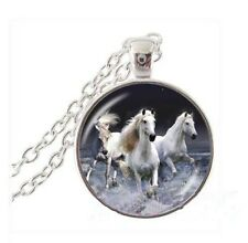 Vintage Horse Cabochon Tibetan silver Glass Chain Pendant Necklace jewelry