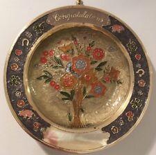 Vtg Nos Solid Brass Cloisonne Congratulations Floral Design Wall Plate #2075