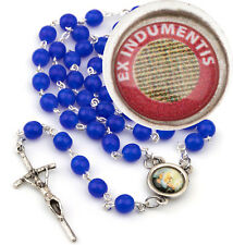 Padre Pio Catholic Rosary Beads 2nd class RELIC Saint Father Pio 6mm Blue Italy