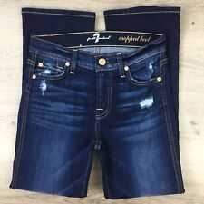 7 For All Mankind Cropped Boot Cut Women's Jeans Size 23 Actual W26 L25 (AB15)