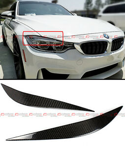 FOR 2012-2020 BMW F32 F33 F36 CARBON FIBER HEADLIGHT EYE LID COVER PAIR EYEBROWS