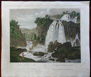 Tivoli Italy view Great Waterfalls Fisherman 1829 Parboni engraved nature print