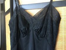 Vintage Vanity Fair Full Black Nylon Slip Embroidered Chiffon Bust Hem Sz 36