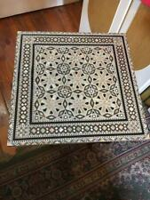 "Wood End Table Inlaid Mother of Pearl  (16"")"