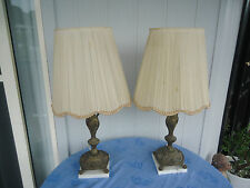 2 vintage brass & marble cherub lamps bedside table silk shades mayfield
