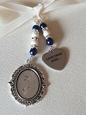 """Wedding Bouquet Charm Oval Silver Locket, """"love never ends"""" charm, and gift bag"""