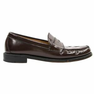 Brooks Brothers Burgundy Brown Patent Leather Apron Toe Penny Loafers 8.5D
