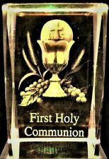 FIRST HOLY COMMUNION CHALICE 3D CRYSTAL Laser Holographic+LED LIGHT NEW GIFT BOX