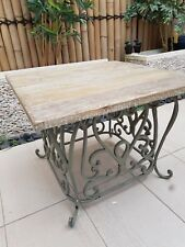Rustic square Timber Table cast iron base limewash top with recycled look