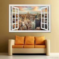 New York City Manhattan Window Wall Decals Wall Art Sticker Home Decor FREE SHIP