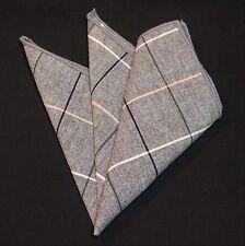 Hankie Pocket Square Cotton Handkerchief Grey with Checks CH089