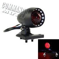 12v Motorcycle LED Bullet Tail Light Rear Lamp With License Plate Bracket Black