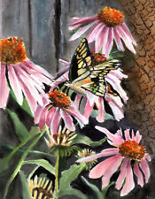 Pretty Monarch Butterfly and cone flowers 8x10 print of original watercolor