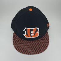 NFL Cincinnati Bengals New Era 59Fifty Fitted Hat Size 7 5/8 Black Orange Cap