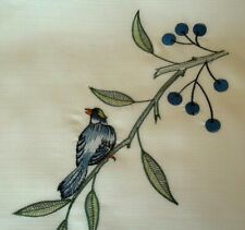 """Blue Jay Bird Rectangular Dining Table cover Beige Tablecloth 60"""" x 84"""" New"""