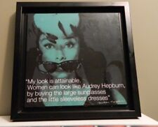 Audrey Hepburn with sunglasses Signed photo on wood made in CAN