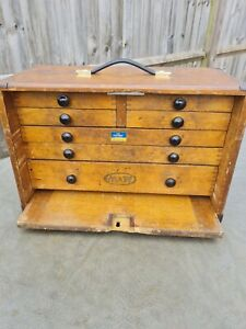 Antique Moore & Wright Wooden Engineers Toolbox / Tool Box / Cabinet / Chest