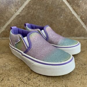 Vans Girls Asher Rainbow Glitter Purple Slip On Casual Shoes Sneakers Size 11