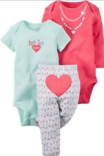 Carters Baby Girl 6M - 3 Piece Outfit Pants Bodysuits HELLO CUTIE Floral