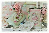 Shabby Chic Vintage Decorative Painted Decoupage Tin Cans, Lace/Roses ~ Set of 2