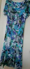 Marks Spencer Midi Dress in Blue Floral Print Size 10 14 16