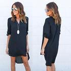 Women Chiffon Blouse Long Sleeve Shirt Casual V Neck Loose Tops Mini Dress S-3XL